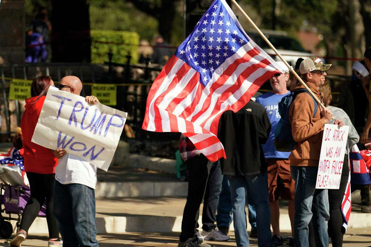 Supporters of President Donald Trump gather for a rally held near the Texas State Capitol, Saturday, Jan. 9, 2021, in Austin, Texas. (AP Photo/Eric Gay)
