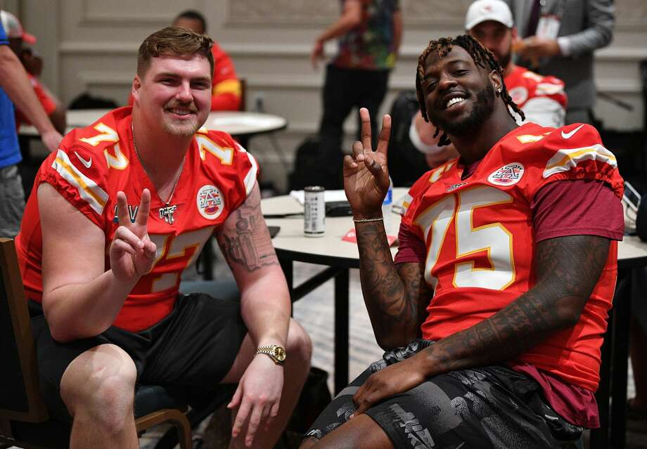 Kansas City Chiefs' Andrew Wylie (left) poses with teammate Cameron Erving during media availability in Aventura, Fla., Jan. 30, 2020 in the week leading up to Super Bowl LIV. Photo: Getty Images