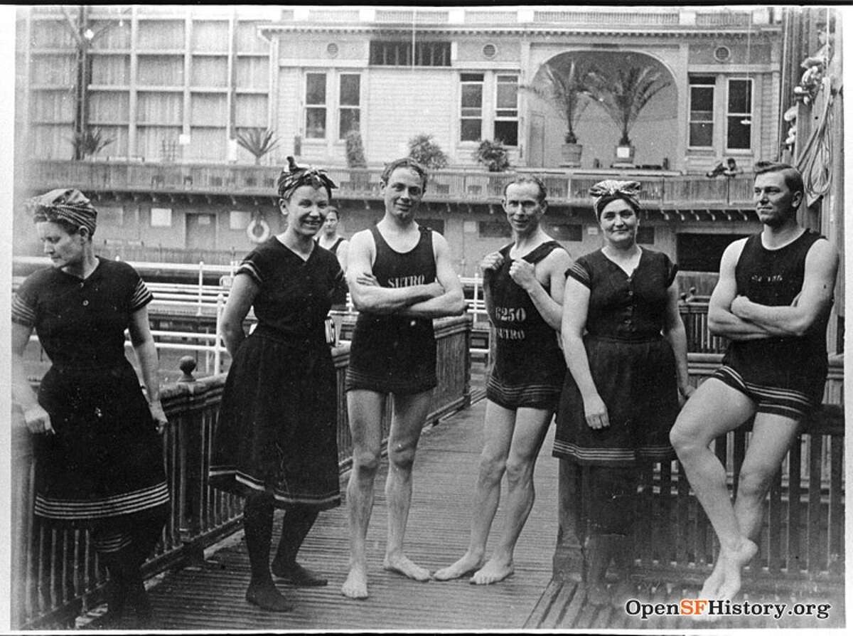 Sutro Baths men and women bathers (1906). Three men and three women in bathing costume, courtesy of OpenSFHistory.org.