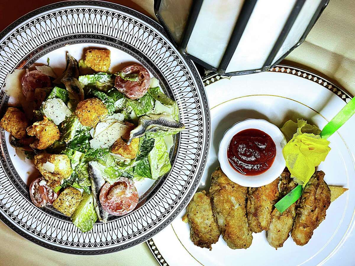 Appetizer options include a Caesar salad and French-grilled oysters at Bohanan's Prime Steak and Seafood.