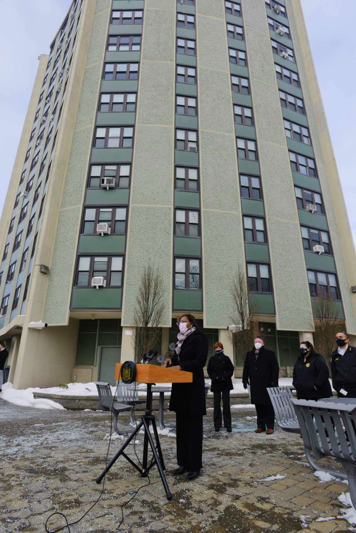 Chiquita Darbeau, Albany Housing Authority executive director, speaks at a press conference outside the Westview Homes where Mohawk Ambulance Services was running a community based pop up vaccination site on Thursday, Feb. 4, 2021, in Albany, N.Y. (Paul Buckowski/Times Union)