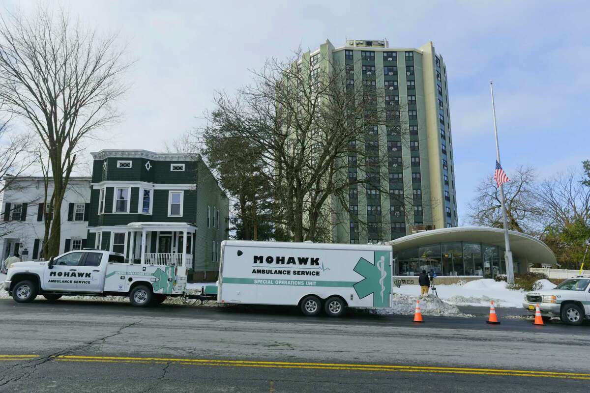 A Mohawk Ambulance mobile vaccine distribution vehicle and trailer is seen outside the Westview Homes where Mohawk Ambulance staff were running a community based pop up vaccination site on Thursday, Feb. 4, 2021, in Albany, N.Y. (Paul Buckowski/Times Union)