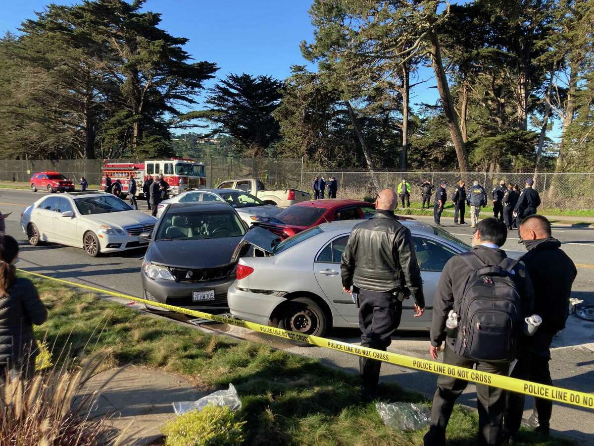 A fatal traffic accident killed a pedestrian and injured at least five others near Higuera Avenue and Lake Merced Boulevard on Thursday.