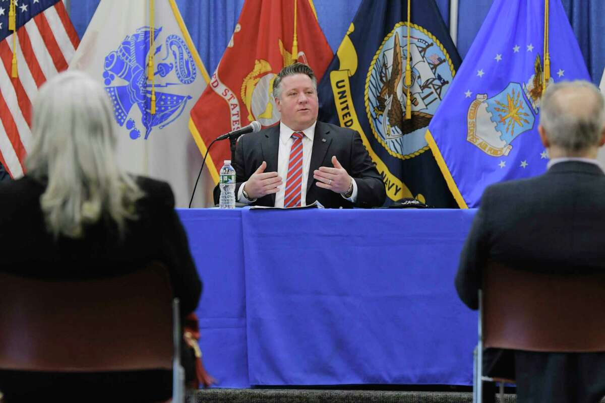 Albany County Executive Dan McCoy talks about Covid-19 cases in the county during a press conference on Thursday, Feb. 4, 2021, in Albany, N.Y. (Paul Buckowski/Times Union)