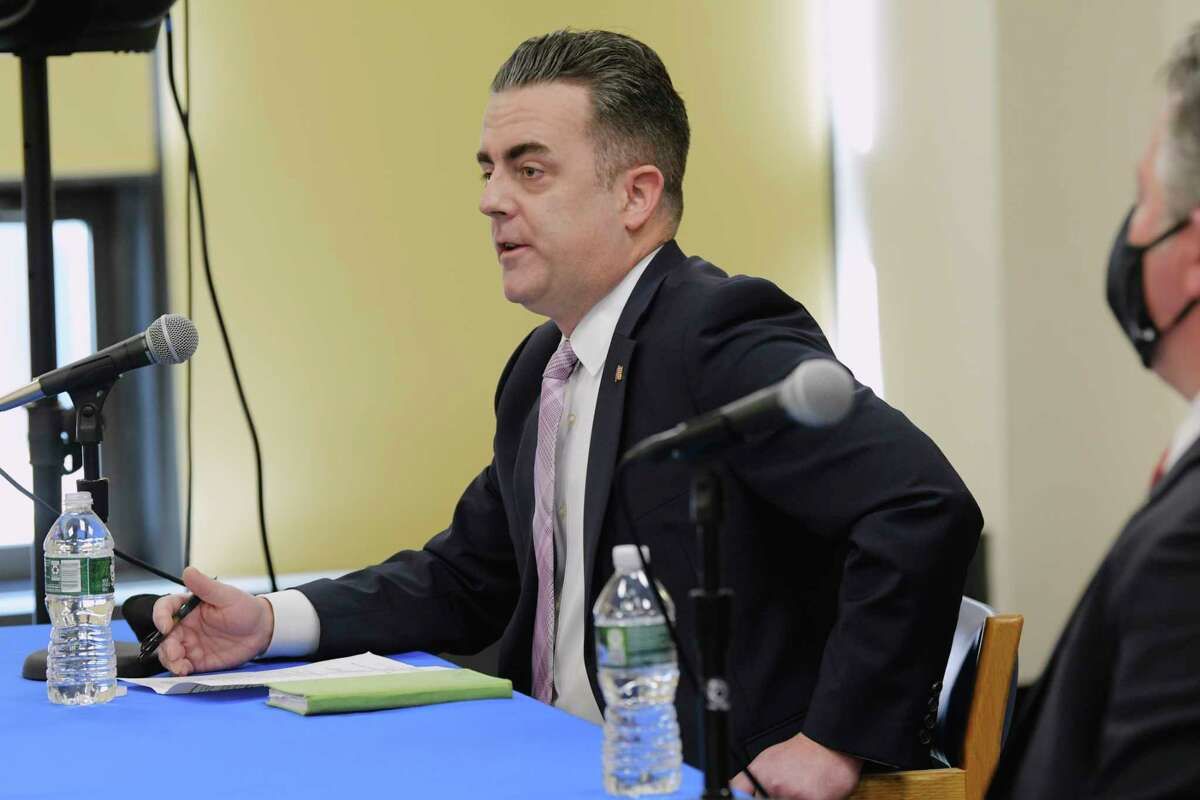 Andrew Joyce, chairman of the Albany County Legislature, speaks about financial help coming to small businesses in the county during a press conference on Thursday, Feb. 4, 2021, in Albany, N.Y. (Paul Buckowski/Times Union)