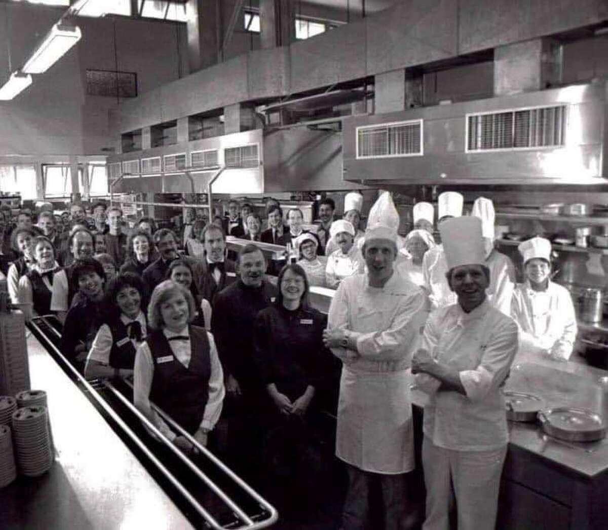 Executive chef Bertram Wentzek and the Ahwahnee Hotel kitchen staff during a Bracebridge dinner in the 1980s.