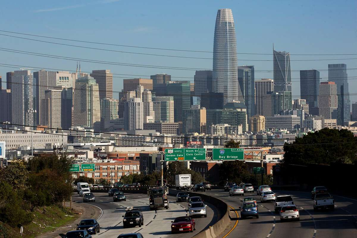 The flow of traffic on U.S. Highway 101, Thursday, Jan. 21, 2021, in San Francisco, Calif.