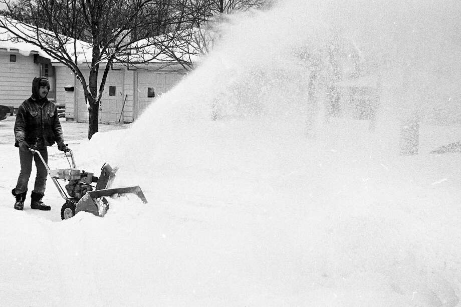 From the Manistee News Advocate in February 1981: It's a winter wonderland - or so the tourist brochures all proclaim - and Al Zatarga of 24th Street had to haul his snowblower out of the garage again this morning after more the white fluffy stuff fell during the night. (Manistee County Historical Museum)