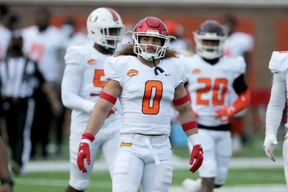 American Team linebacker Grant Stuard of Houston (0) during the first half of the NCAA college football Senior Bowl in Mobile, Ala, Saturday, Jan. 30, 2021. (AP Photo/Rusty Costanza) Photo: Rusty Costanza, FRE / Associated Press / Copyright 2021 The Associated Press. All rights reserved.