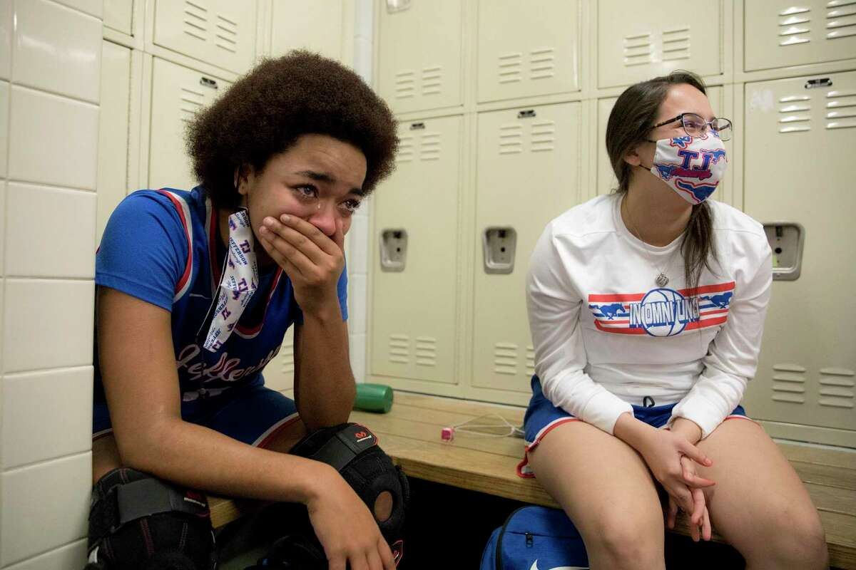 Jefferson senior, Amelia George reacts as her team celebrates their 43-40 win over Sam Houston Tuesday night, February 2, 2021. The game cemented Jefferson's first district champion title. This is also the first year in the school's history of making it into the playoffs.