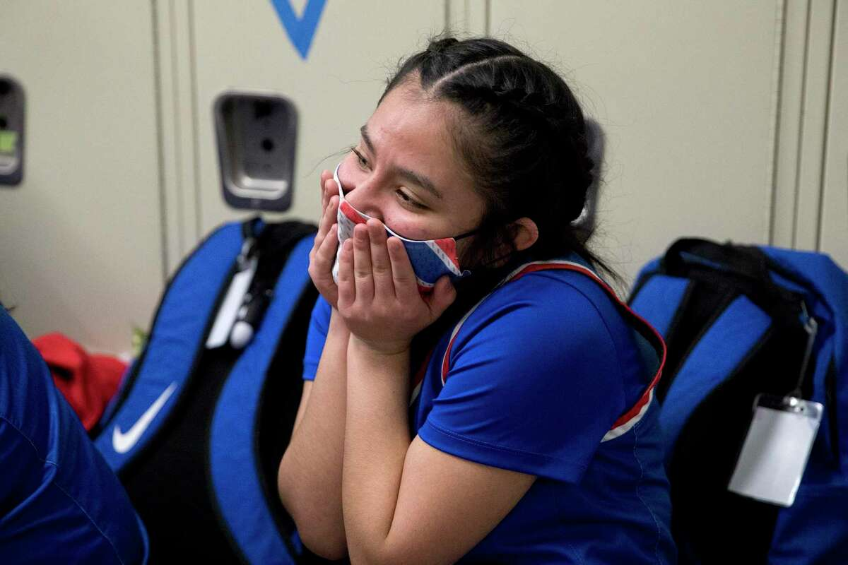 Jefferson junior, Alisay Gonzalez reacts as her team celebrates their 43-40 win over Sam Houston Tuesday night, February 2, 2021. The game cemented Jefferson's first district champion title. This is also the first year in the school's history of making it into the playoffs.