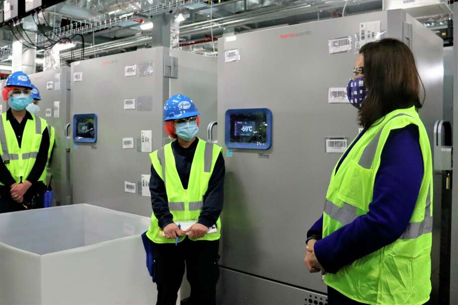 Gov. Gretchen Whitmer visited Pfizer's global manufacturing facility in Kalamazoo on Wednesday. (Courtesy/Michigan Executive Office of the Governor)
