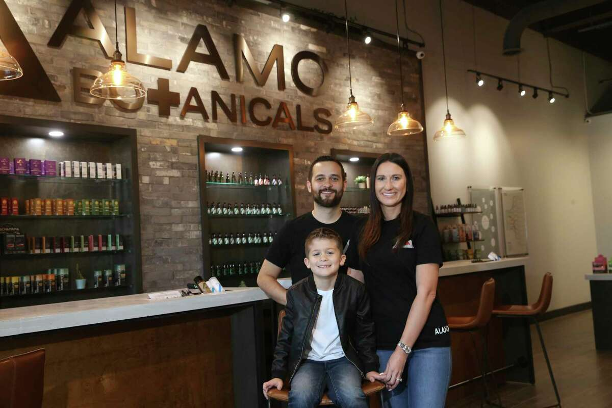 David and Nancy Burrow, with son Carter, 6, at the Alamo Botanicals location off Huebner Road.
