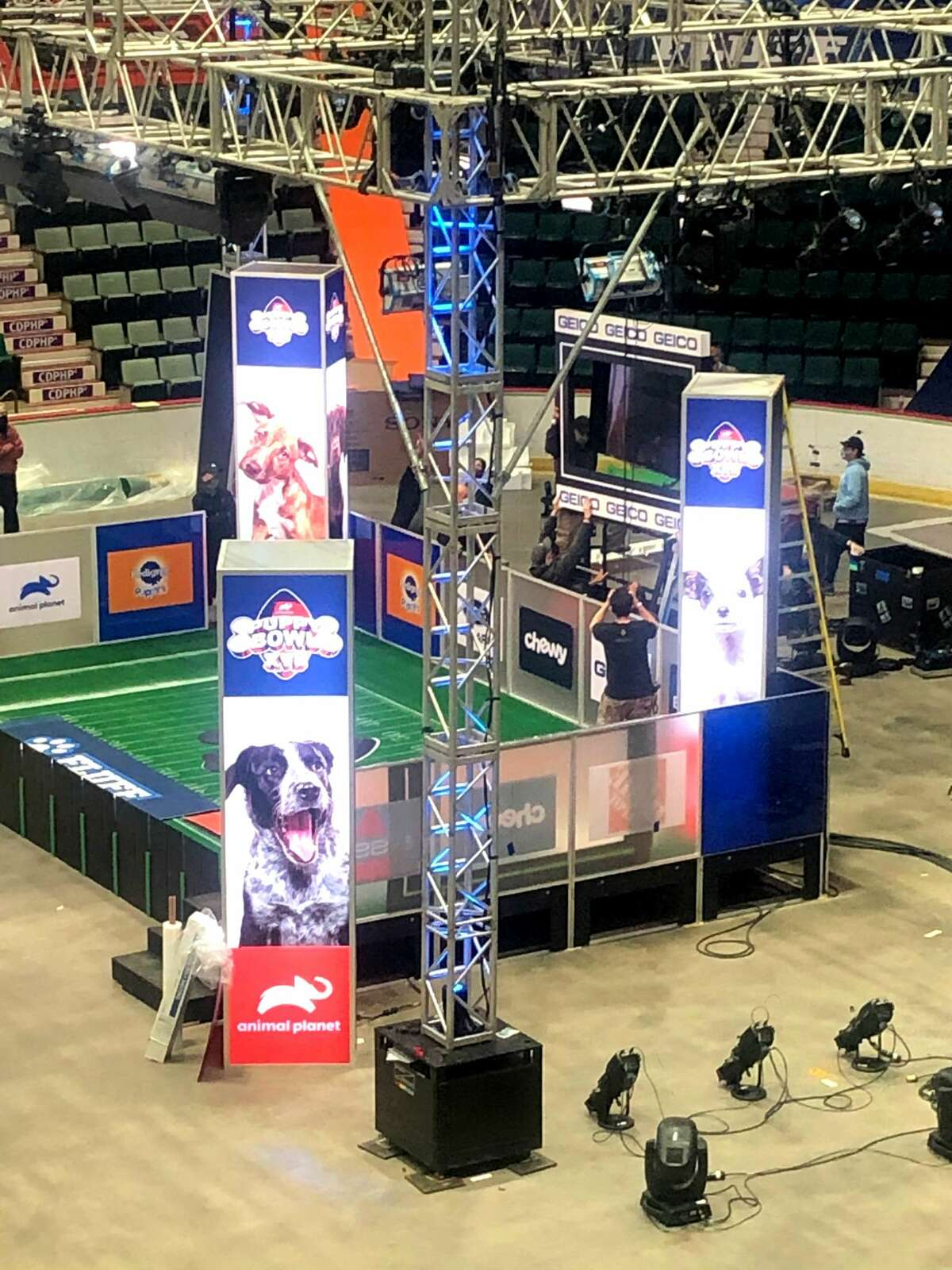 Preparations in October at Cool Insuring Arena in Glens Falls for the filming of the Animal Planet show