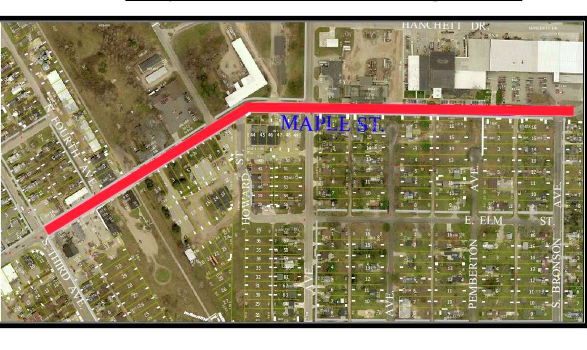 The section of Maple Street highlighted on the map will be resurfaced to repair damage incurred from years of heavy truck traffic in and out of the industrial area. Work is set to begin in 2022 and will be funded, in part, by a grant from MDOT. (Photo courtesy of the city of Big Rapids)