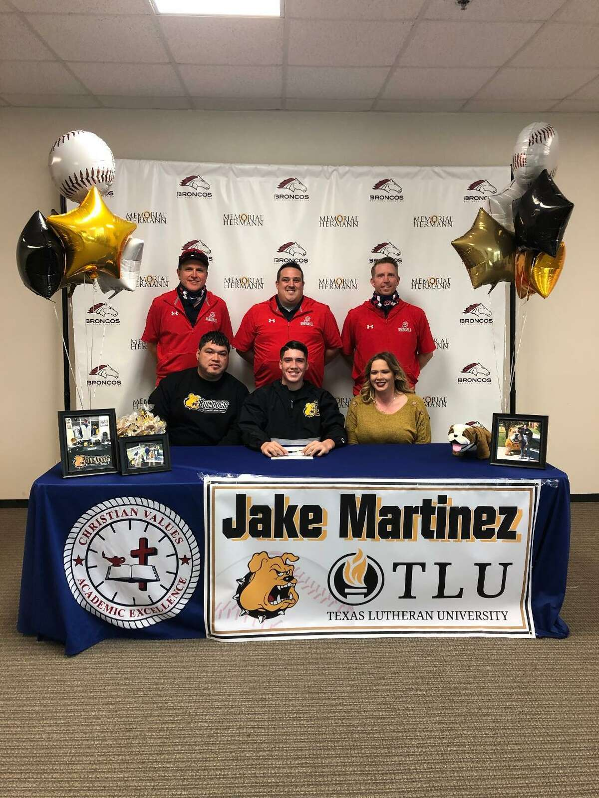Bay Area Christian High School's Jake Martinez signed a national baseball letter of intent with Texas Lutheran University. On the front row with Jake are his parents, Jose Martinez and Tiffany Bardwell. Back row, left to right are BAC assistant coach Barry Barnes, BAC head baseball coach Kyle Kennedy and assistant coach Kyle Crowell.