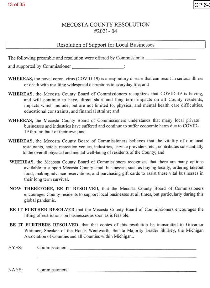The Mecosta County board of commissioners approved this resolution in support of local businesses during the COVID-19 pandemic at its meeting this week. (Submitted photo)