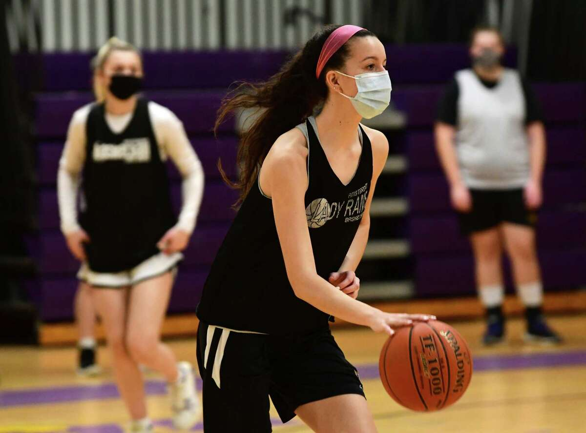 Amsterdam senior Antonia May, who signed to play with UMBC, runs through a drill during basketball practice with her team on Thursday, Feb. 4, 2021 in Amsterdam, N.Y. (Lori Van Buren/Times Union)