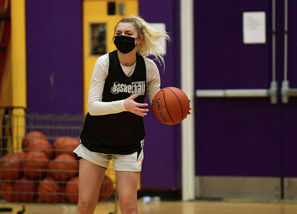 Amsterdam senior Andie Gannon, who signed to play with Roberts Wesleyan College, runs through a drill during basketball practice with her team on Thursday, Feb. 4, 2021 in Amsterdam, N.Y. (Lori Van Buren/Times Union)