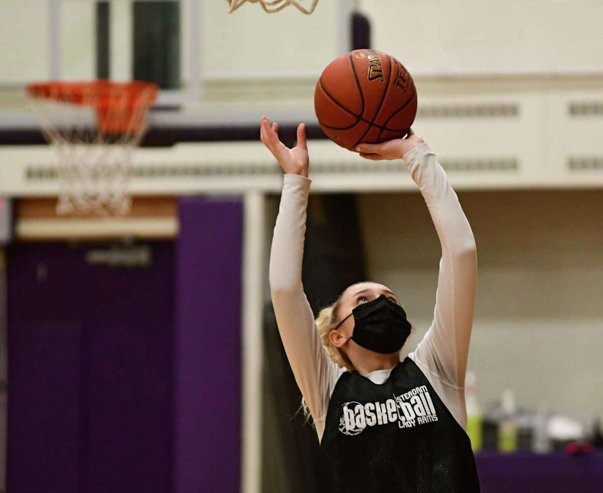 Amsterdam senior Andie Gannon, who signed to play with Roberts Wesleyan College, makes a layup during basketball practice with her team on Thursday, Feb. 4, 2021 in Amsterdam, N.Y. (Lori Van Buren/Times Union)