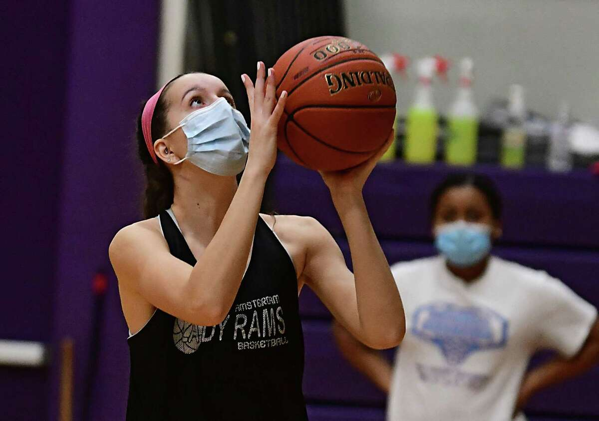 Amsterdam senior Antonia May, who signed to play with UMBC, takes a shot during basketball practice with her team on Thursday, Feb. 4, 2021 in Amsterdam, N.Y. (Lori Van Buren/Times Union)