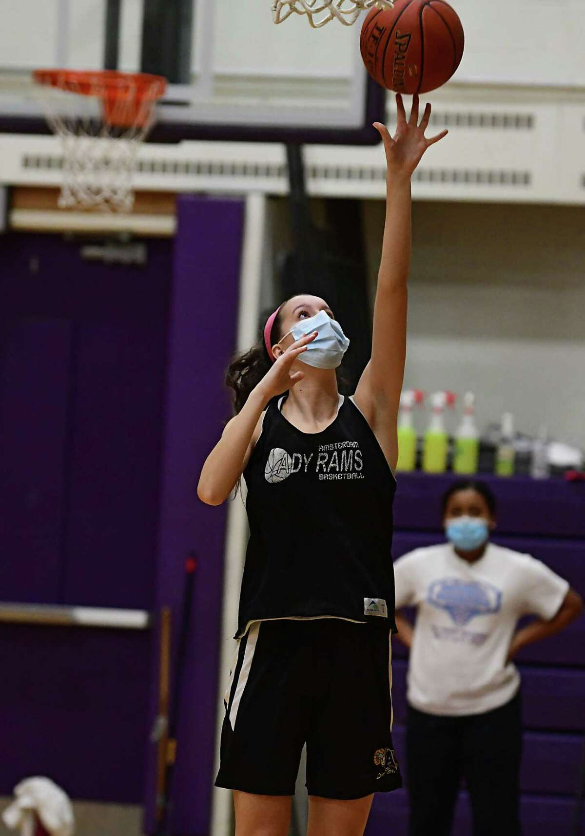 Amsterdam senior Antonia May, who signed to play with UMBC, makes a layup during basketball practice with her team on Thursday, Feb. 4, 2021 in Amsterdam, N.Y. (Lori Van Buren/Times Union)