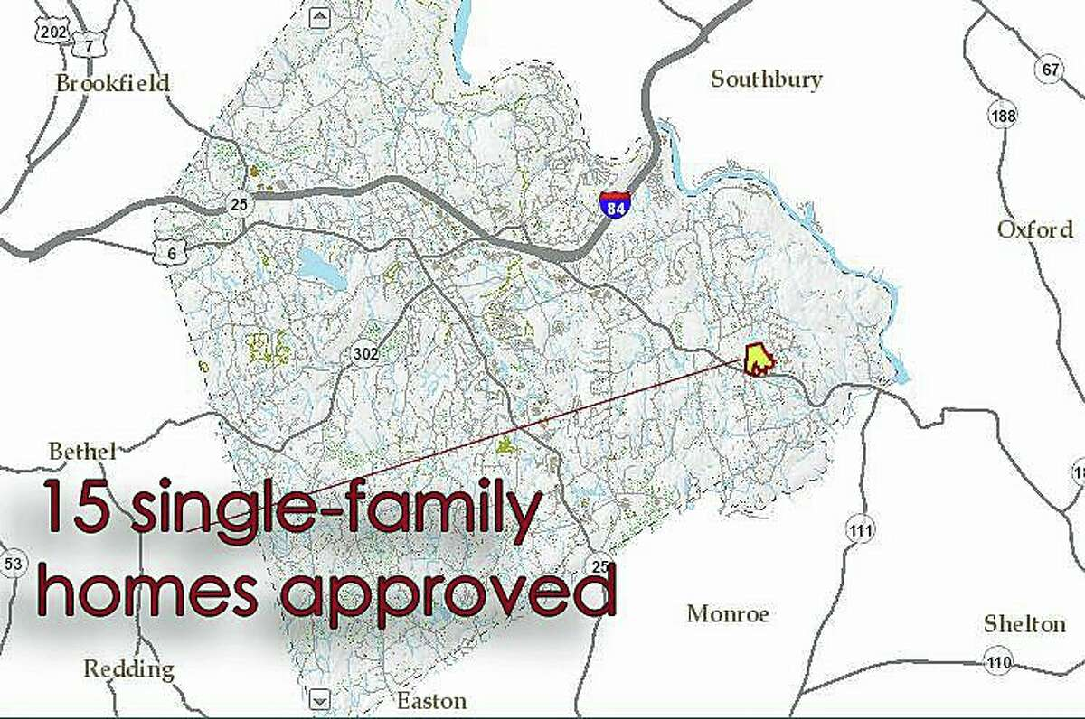 Newtown's land use board approved construction of 15 homes on 73 acres on Route 34.