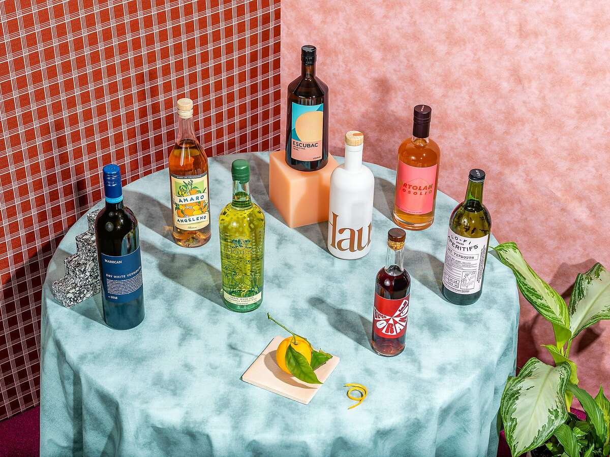 Aperitifs are having a moment, and the category is helping revive long-unpopular styles of alcohol like vermouth. Pictured, from left: Massican, Amaro Angeleno, Jardesca, Escubac, Haus, Mommenpop, Ortolan and Lo-Fi.