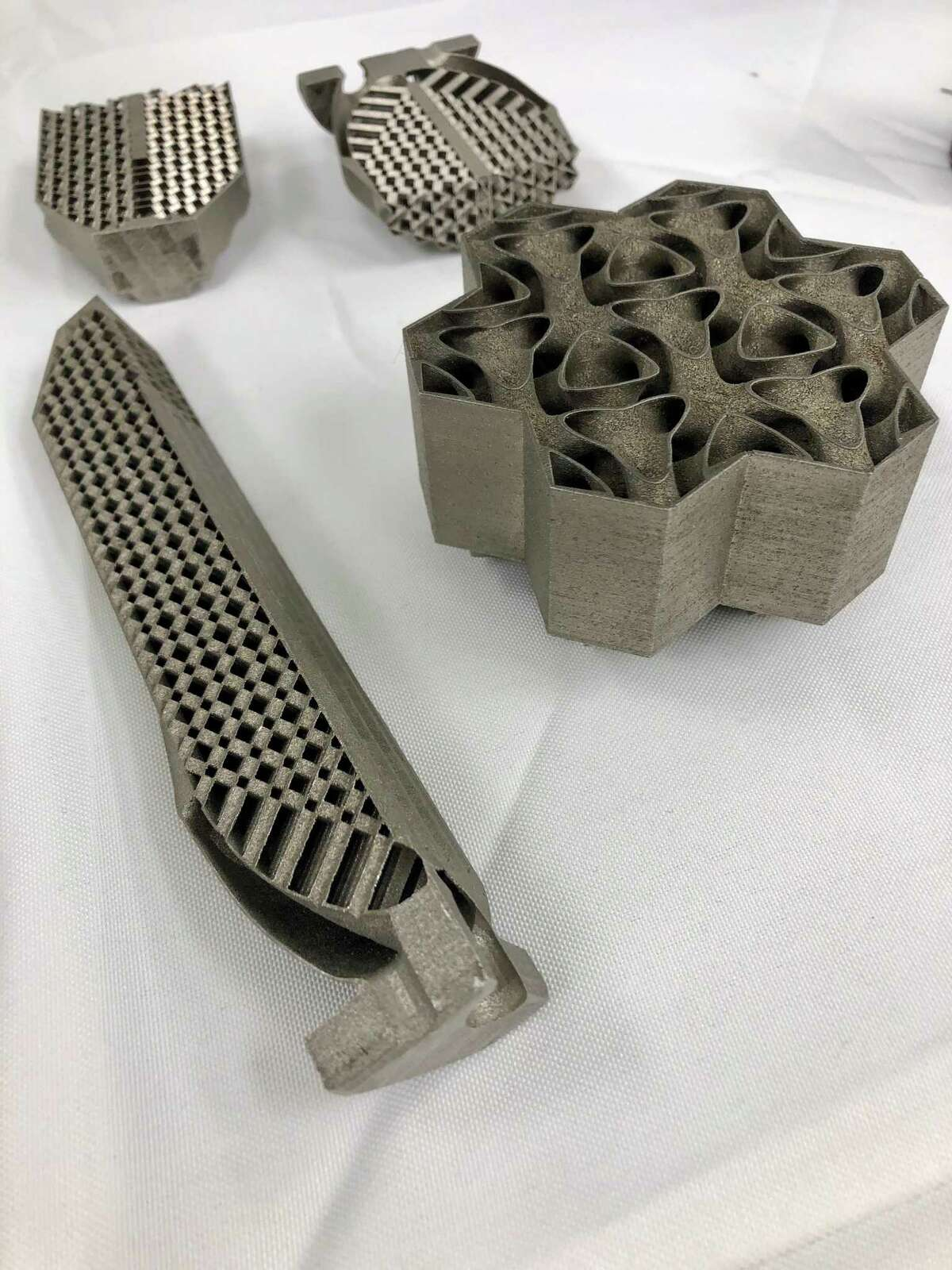 Test samples of 3D-printed heat exchangers made in GE's Additive Manufacturing Lab in Niskayuna. The heat exchanger regulates the airflow over the sorbent materials in the device that GE is developing with leading university scientists across the country,