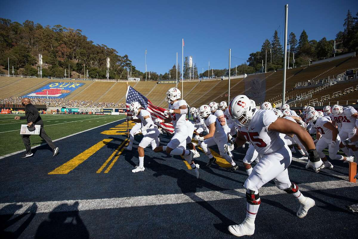 The Stanford Cardinal take the field before the Big Game against Cal in Berkeley in November.