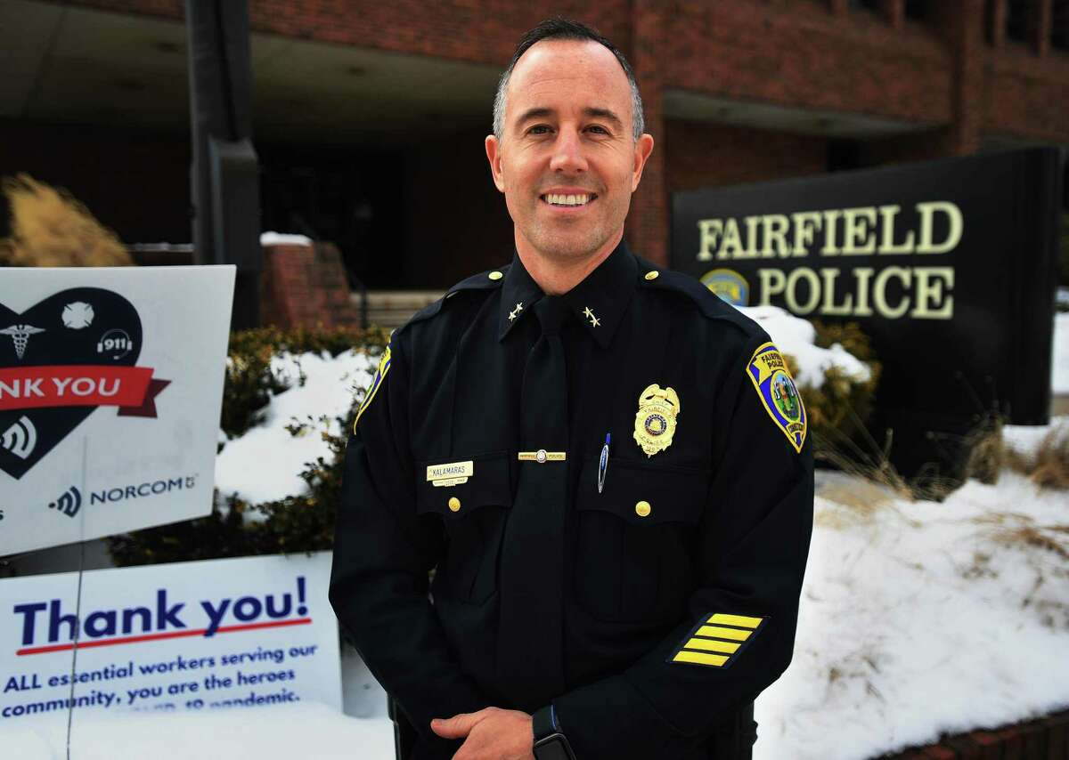 The new Fairfield Police Chief Robert Kalamaras outside department headquarters in Fairfield, Conn. on Wednesday, February 3, 2021.