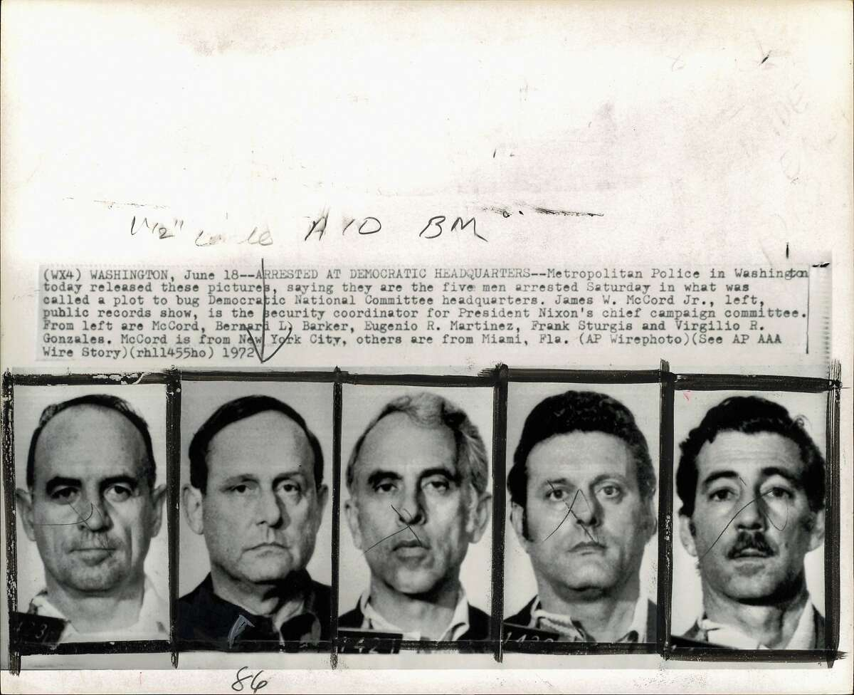 (Watergate case) Washington: Metropolitan Police in Washington today released these pictures, saying they are the five men arrested Saturday in what was called a plot to bug Democratic National Committee headquarters. James W. McCord Jr., left, public records show, is the security coordinator for President Nixon's chief campaign committee. From left are McCord, Bernard L. Barker, Eugenio R. Martinez, Frank Sturgis and Virgilio R. Gonzales. McCord is from New York City, the others from Miami, Florida.