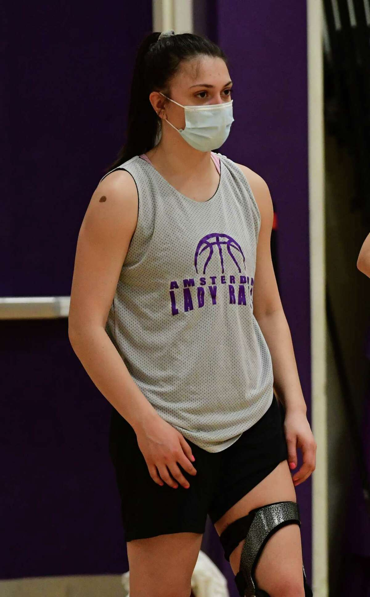 Amsterdam senior Jackie Stanavich, who signed to play with Mercy College, is seen during basketball practice with her team on Thursday, Feb. 4, 2021 in Amsterdam, N.Y. (Lori Van Buren/Times Union)