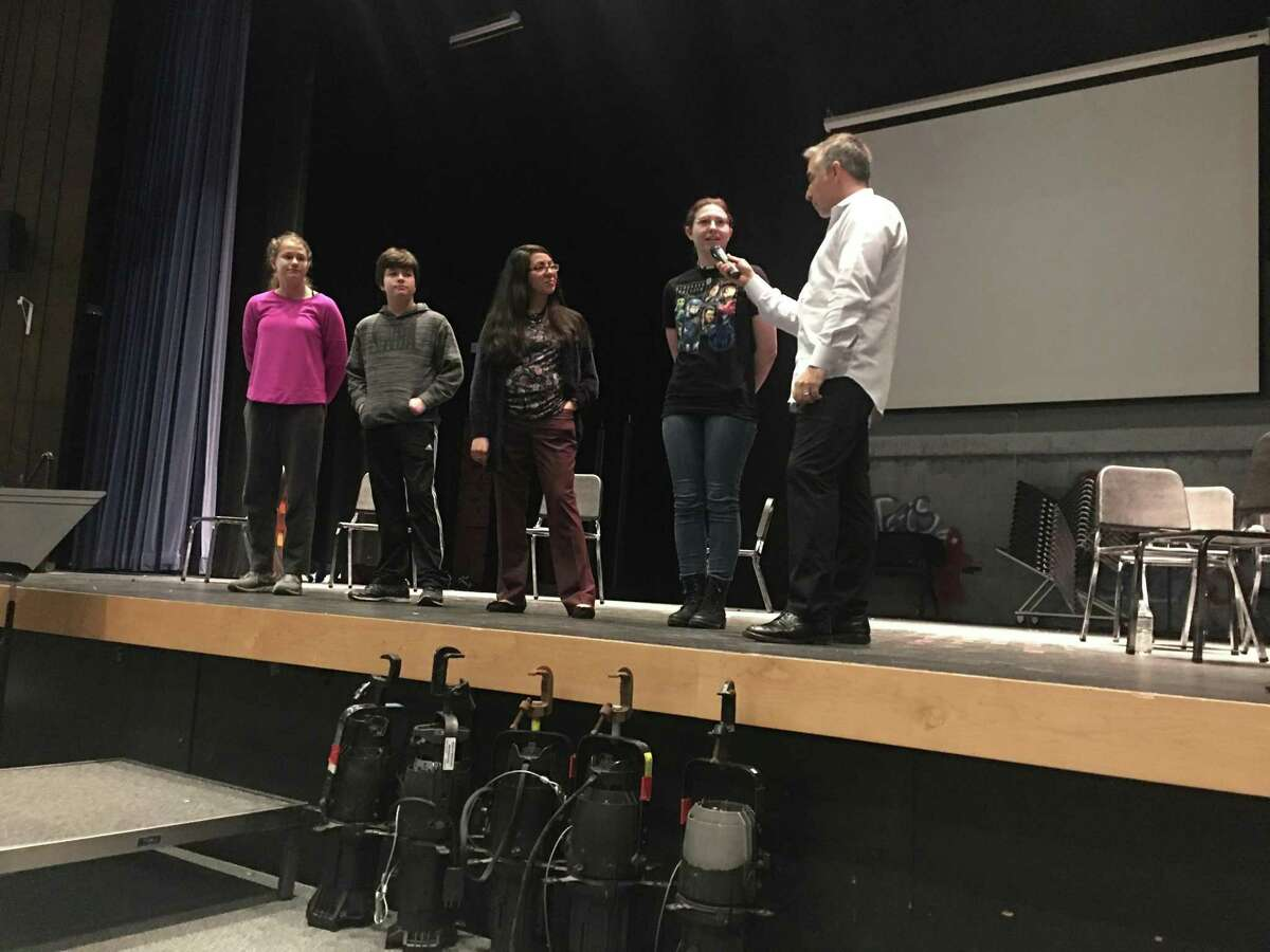Litchfield Prevention Council members acted out a presentation with author and comedien Matt Bellace.