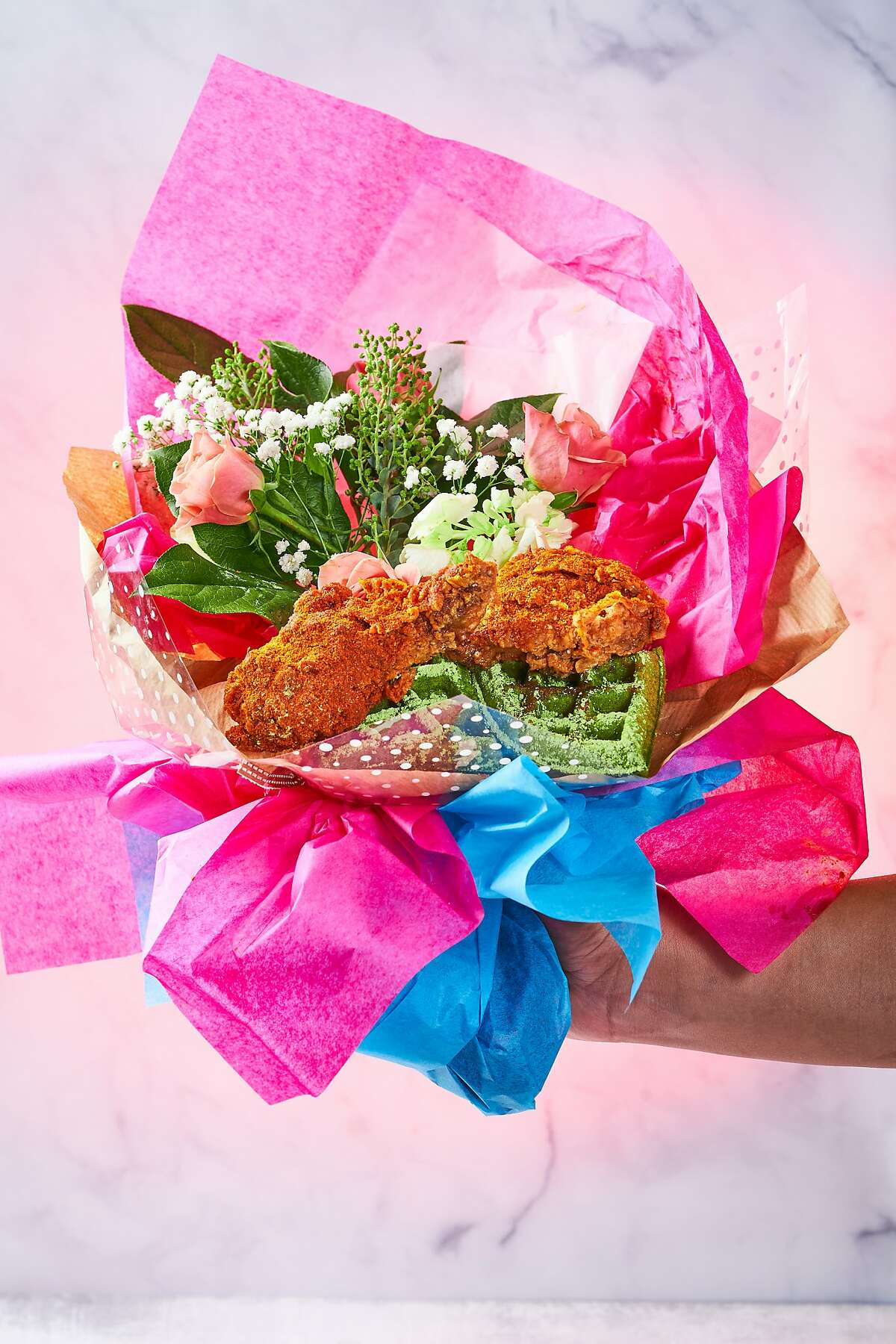 A fried chicken bouquet for Valentine's Day from Tokyo Hot Chicken, a ghost kitchen from Michael Mina's restaurant group.