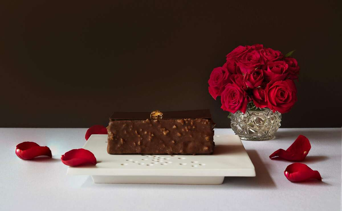 Dark chocolate and coffee layer cake for two, part of the Valentine's Day menu from San Francisco fine dining restaurant Acquerello.