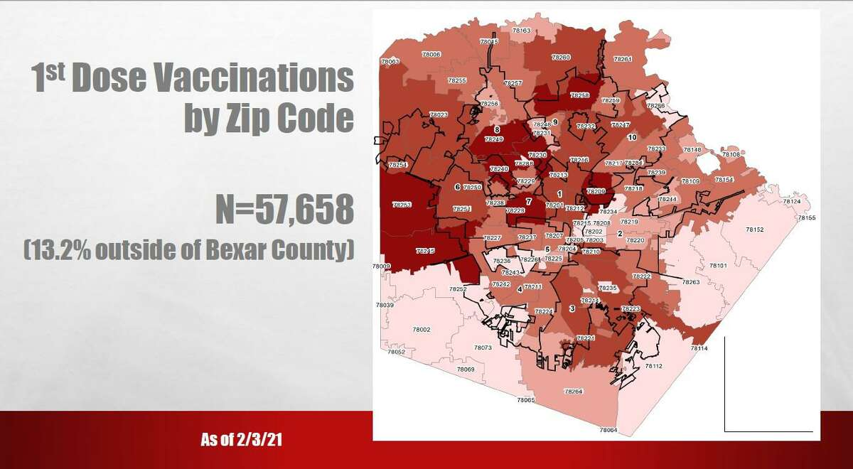 A map shown to City Council members Thursday, Feb. 4, 2020 shows a higher concentration of COVID-19 vaccinations on San Antonio's North Side compared with the rest of the city.