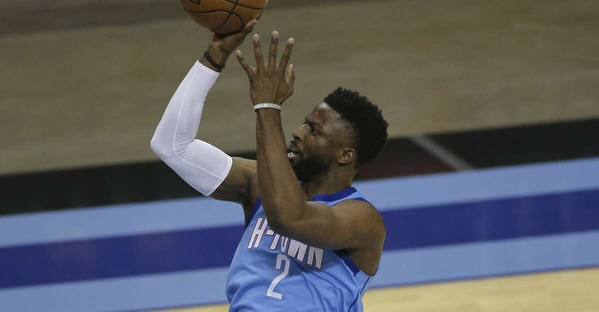 Houston Rockets guard David Nwaba (2) aims for the basket during the third quarter of the NBA game against the Washington Wizards Tuesday, Jan. 26, 2021, at Toyota Center in Houston.