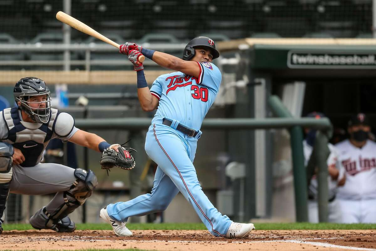 MINNEAPOLIS, MN - SEPTEMBER 06: LaMonte Wade Jr #30 of the Minnesota Twins bats against the Detroit Tigers on September 6, 2020 at Target Field in Minneapolis, Minnesota. (Photo by Brace Hemmelgarn/Minnesota Twins/Getty Images)