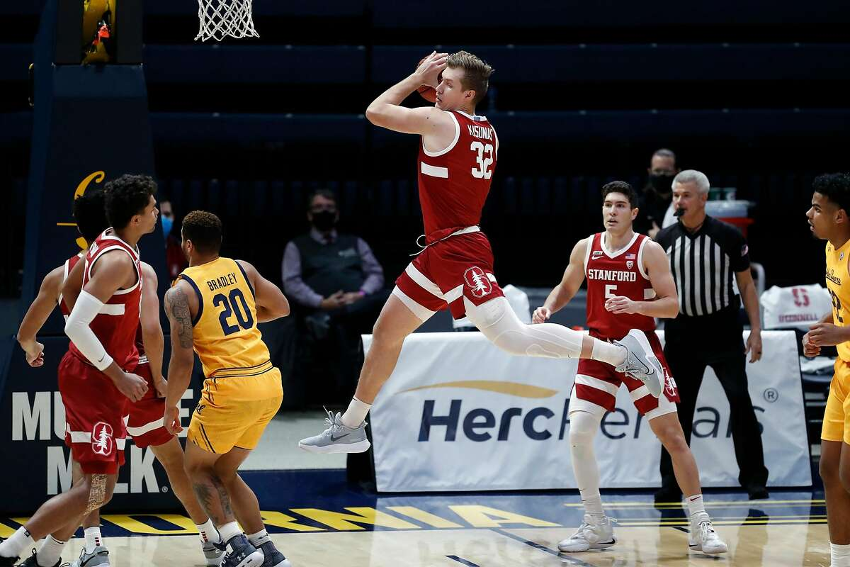 Stanford's Lukas Kisunas pulls down a rebound against California in 1st half during Pac 12 men's basketball game at Haas Pavilion in Berkeley, Calif., on Thursday, February 4, 2021.
