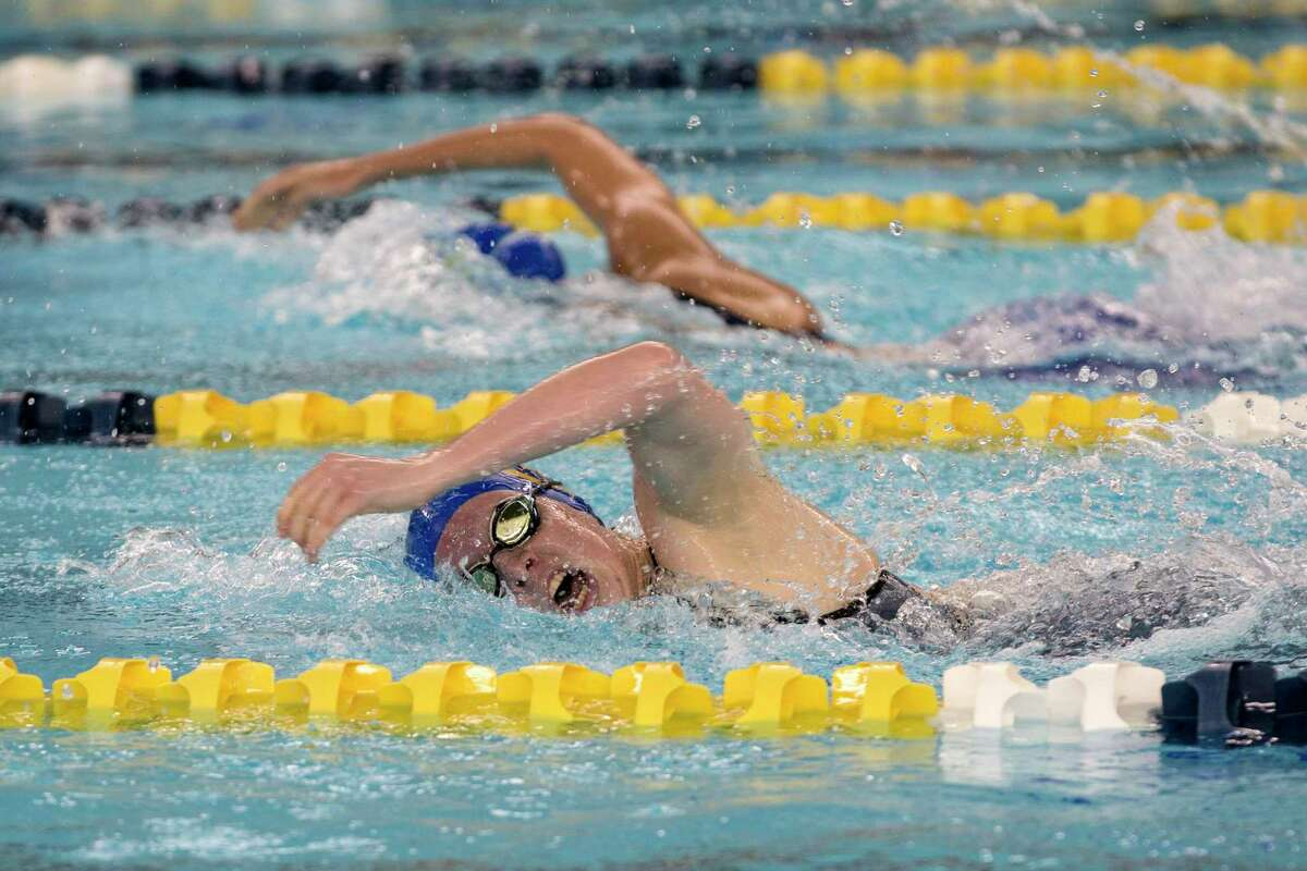 Elizabeth Walsh of Alamo Heights swims freestyle in the 200 Yard IM, February 4, 2021 at the UIL Region VII-5A girls swimming meet. Watson placed first with a time of 2:08.38.
