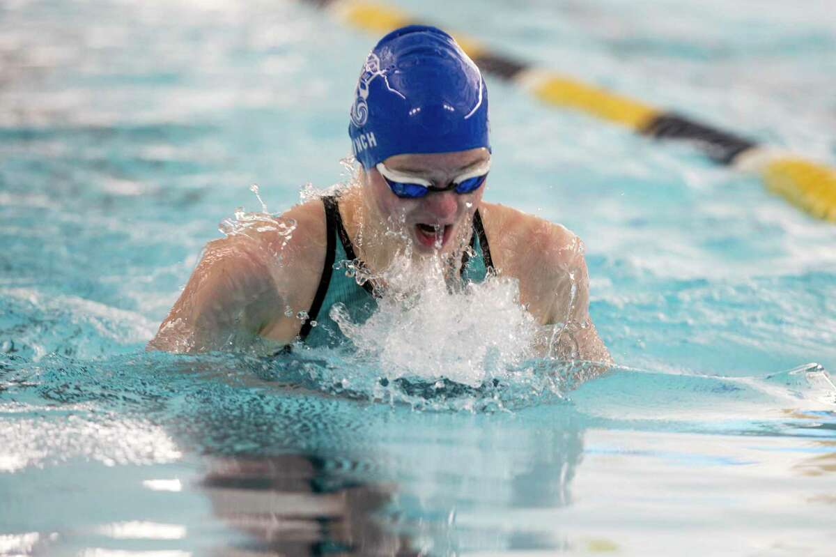 Zoe Lynch of McCallum wins the 100 yard Breaststroke at the UIL Region VII-5A girls swimming meet Thursday February 4, 2021 with a time of 1:05.94.