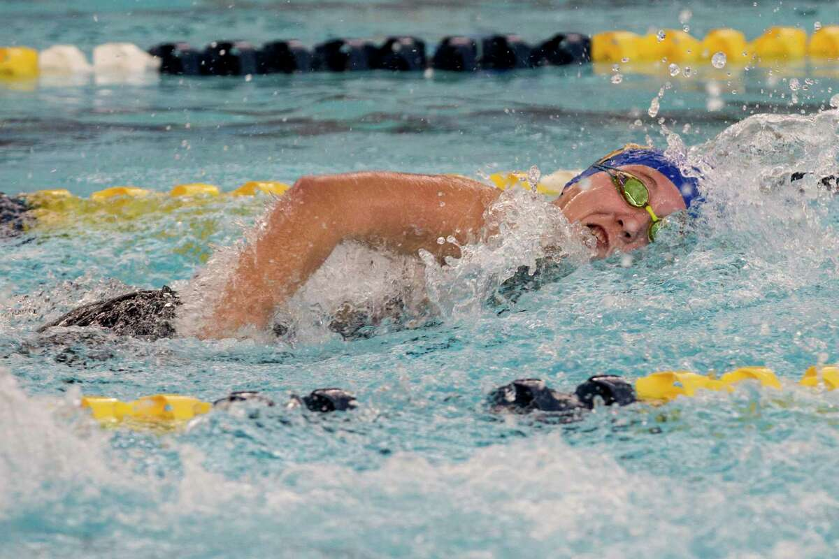 Maia Young of Alamos Heights swims the third leg of the girls 400 Yard Freestyle Relay at the UIL Region VII-5A girls swimming meet Thursday February 4, 2021. Their team won with a time of 3:39.31.