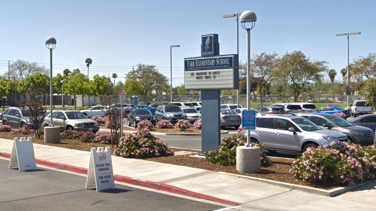 The front of Farr Elementary in Escondido, Calif., where four cases of COVID-19 were reported.