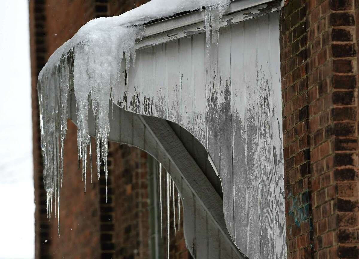 Icicles are formed on a building on Friday, Feb. 5, 2021 in Schenectady, N.Y. (Lori Van Buren/Times Union)