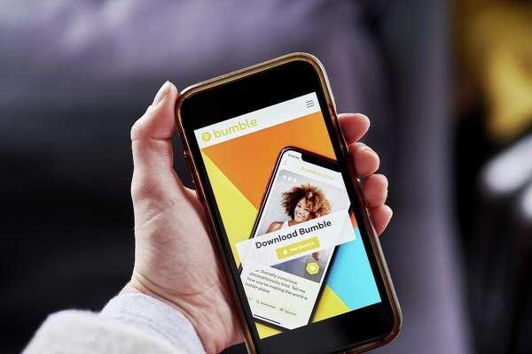 The Bumble Trading Inc. website on a smartphone arranged in the Brooklyn borough of New York, U.S., on Monday, Jan. 4, 2021. A booming market for U.S. initial public offerings shows no sign of slowing in 2021. Dating appBumbleTrading Inc.has filedconfidentiallyfor an IPO that could come as soon as February. Photographer: Gabby Jones/Bloomberg