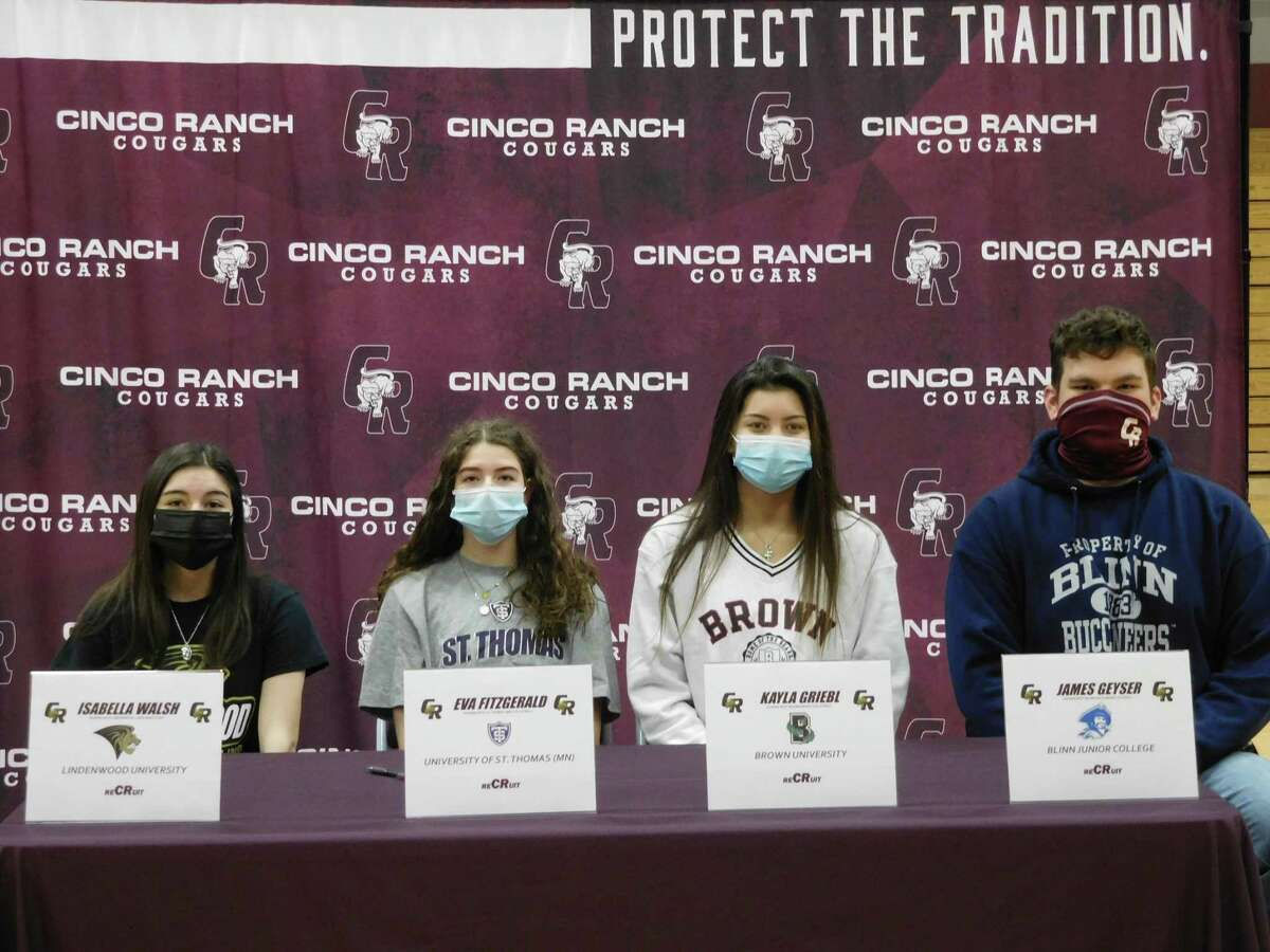 Cinco Ranch seniors (from left) Isabella Walsh (Lindenwood), Eva Fitzgerald (St. Thomas-MN), Kayla Griebl (Brown) and James Geyser (Blinn) celebrated National Signing Day, Feb. 3 at Cinco Ranch High School