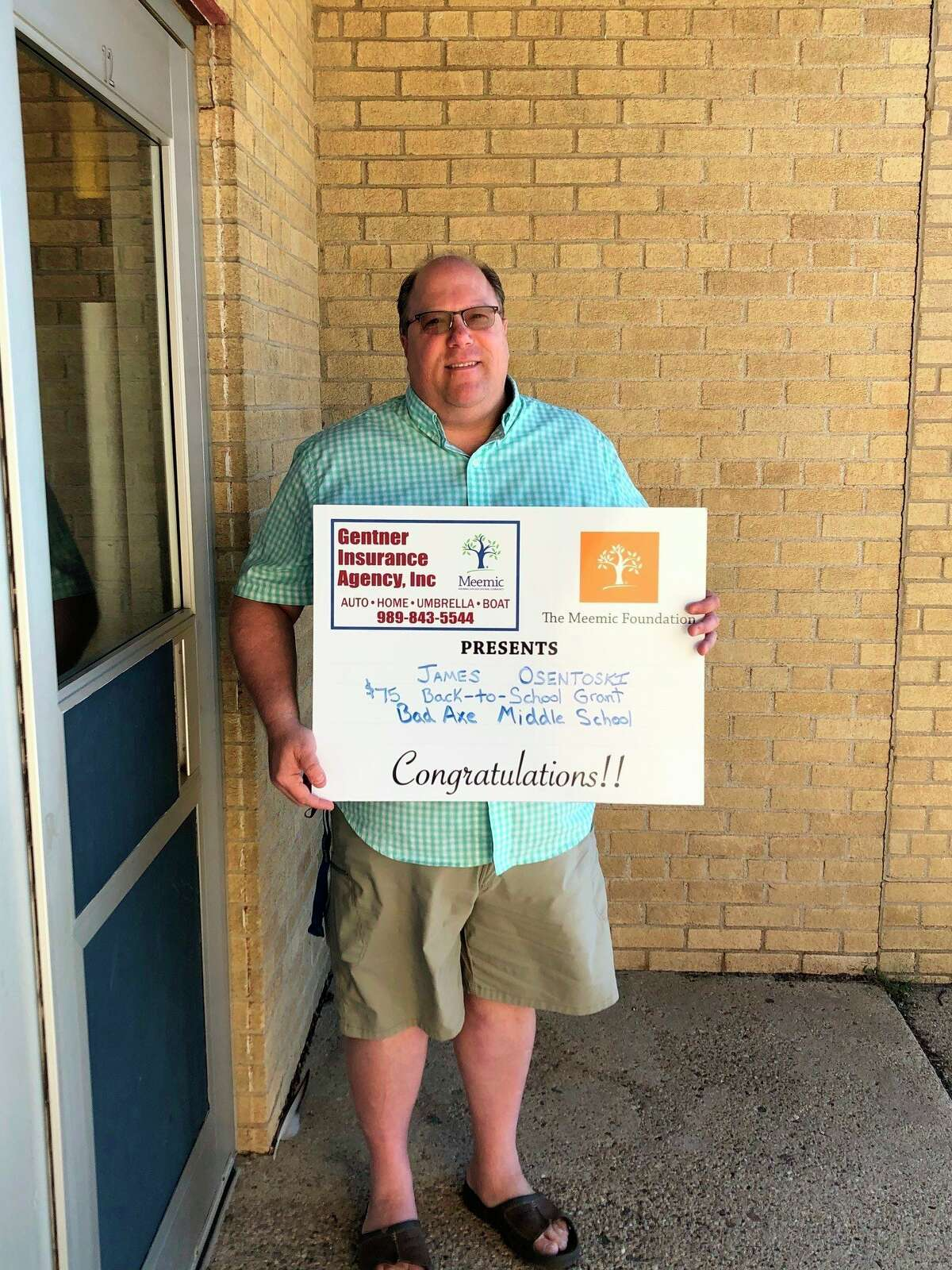 Jim Osentoski, a teacher at Bad Axe Schools, was one of several Huron County educators to recieve a Back to School Supplies grant through Meemic Insurance. (Courtesy Photo)