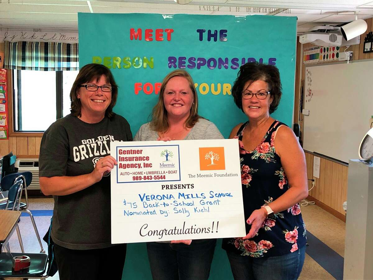 Educators at Verona Mills School, Audrey Siemen, Amy Schweitzer, and Nancy Booms, were some of several to accept a Back to School Supplies grant. Verona Mills School was nominated to receive this grant by Sally Kiehl.
