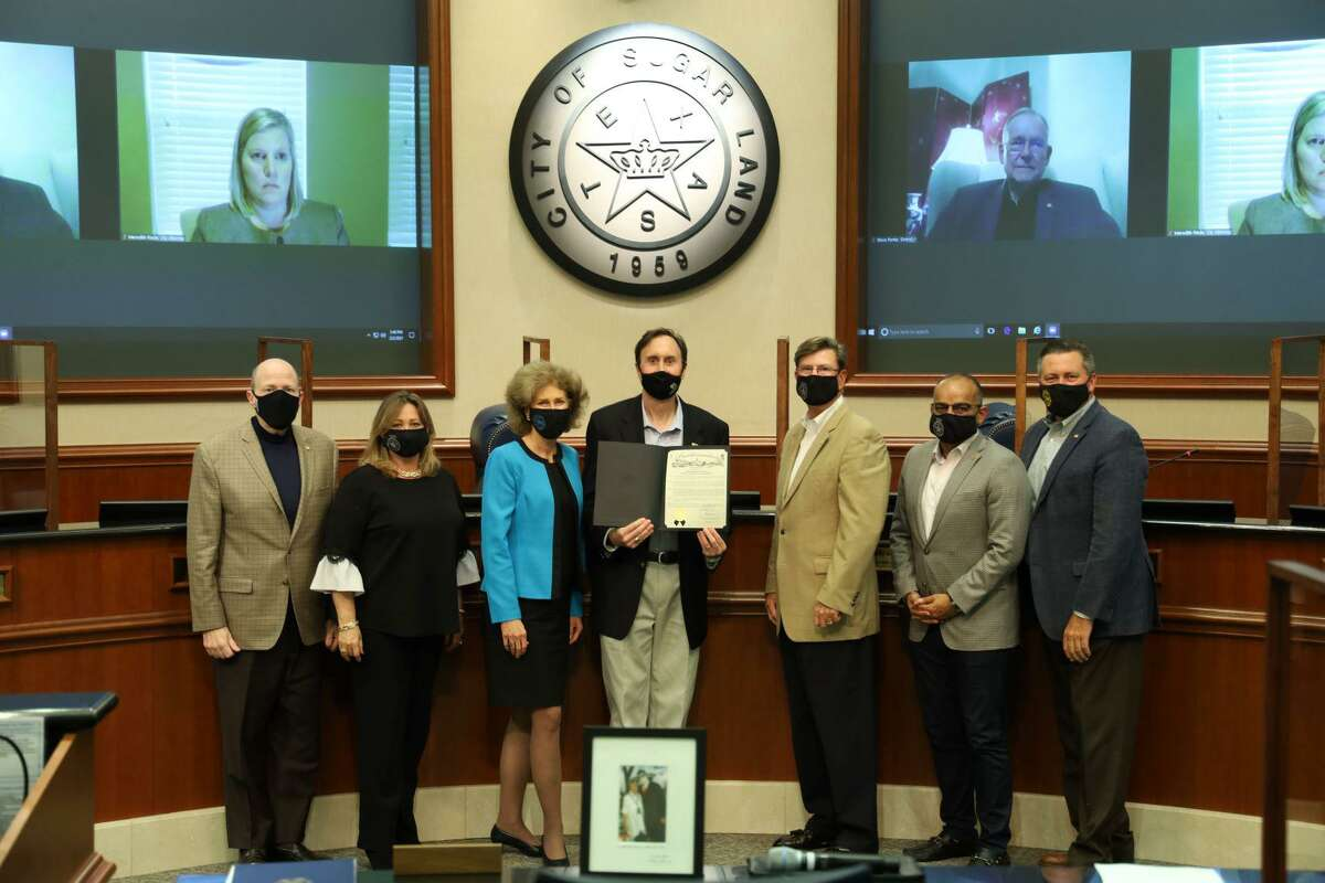 Former U.S. Rep. Pete Olson is recognized by the Sugar Land City Council on Tuesday, Feb. 2. Olson served for 12 years as the representative for Texas's 22nd Congressional District, before stepping down last month.